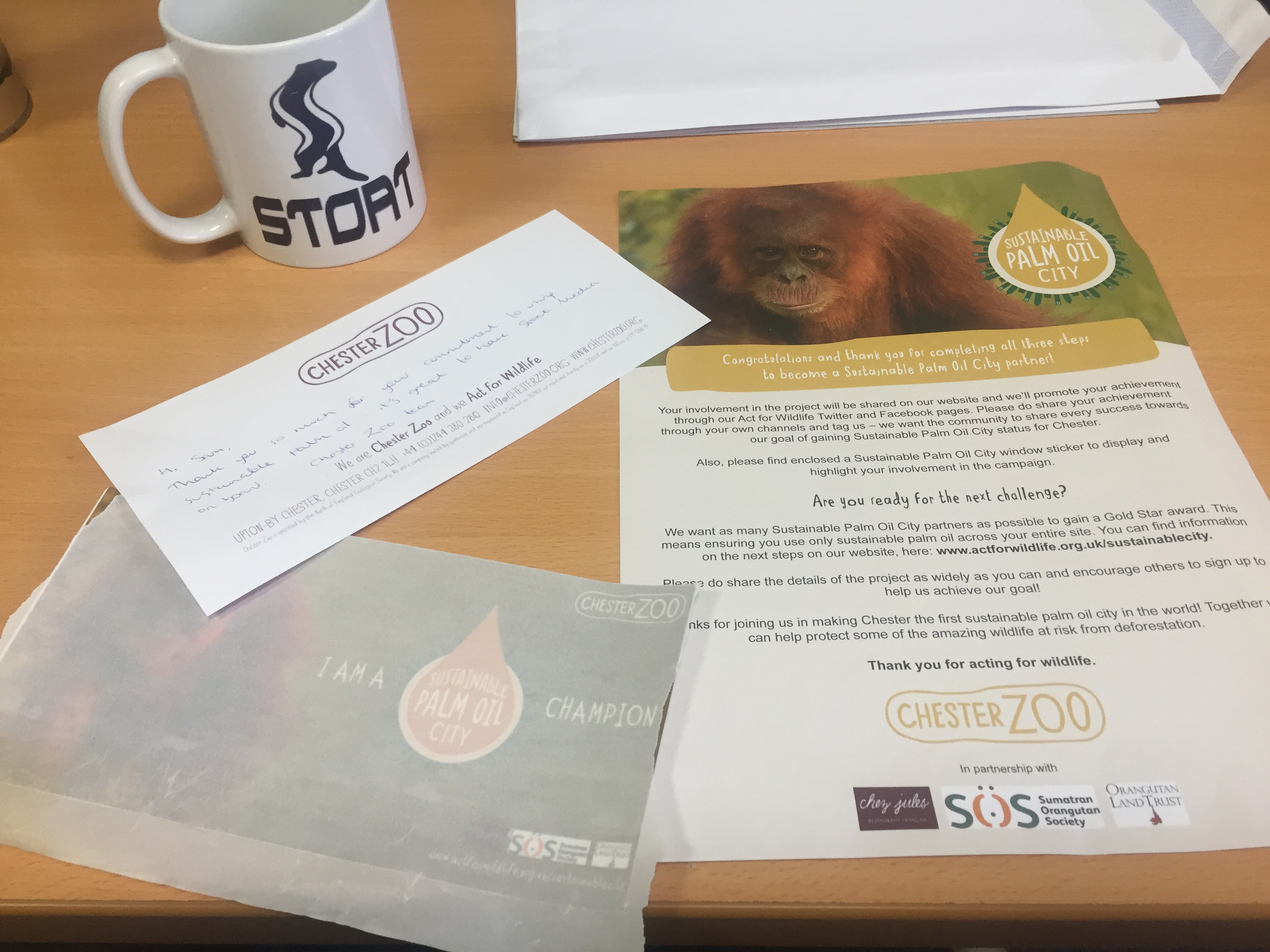 Chester Zoo thank you pack